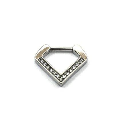 Piercing/Aço/Triângulo/Zircônia Cúbica/Espessura 1.2 mm