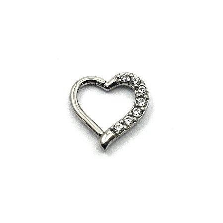Piercing - Coração - Daith - Aço Cirúrgico - Zircônia Swarovski - Espessura 1.2 mm