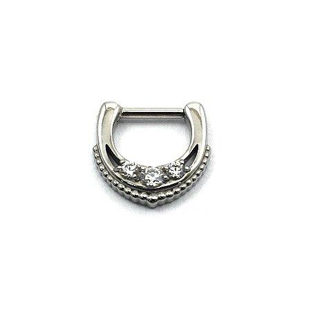 Piercing - Septo - Articulada - Clicker - Aço Cirúrgico - Zircônia Swarovski - Espessura 1.2 mm