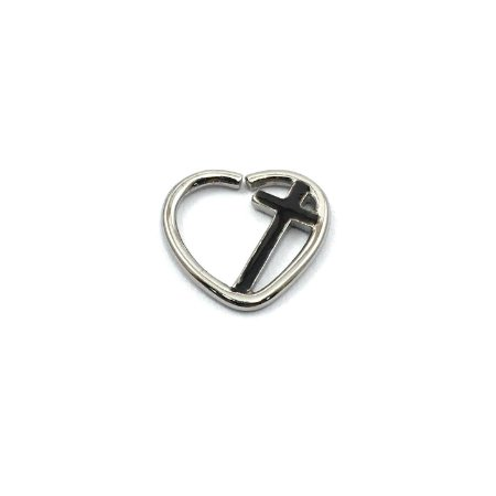 Piercing - Coração - Cruz - Daith - Aço Cirúrgico - Espessura 1.2 mm