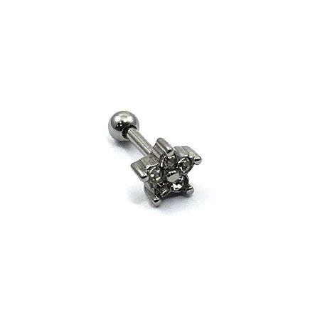 Piercing - Microbell Reto - Estrela - Zircônia - Aço Cirúrgico - Espessura 1.2 mm