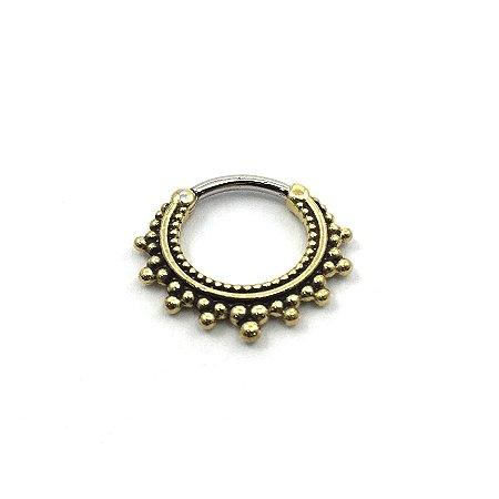 Piercing - Argola - Segmentada -  Articulada - Clicker - Aço Cirúrgico - Bronze - Espessura 1.2 mm