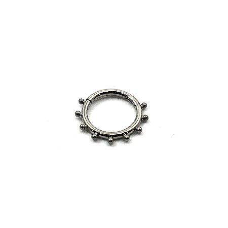 Piercing - Argola - Segmentada -  Articulada - Clicker - Septo - Titânio - Espessura 1.2 mm
