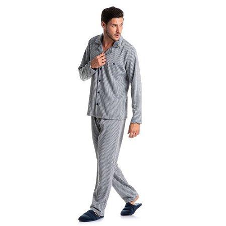 Pijama masculino moletinho Lucca abotoado