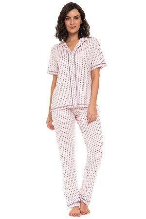 Pijama abotoado Vera manga curta
