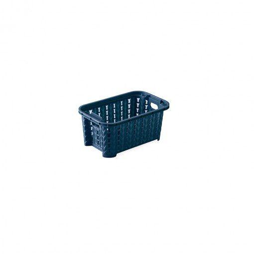 Cesta de Plástico Retangular Organizadora 460 ml Empilhável Trama Azul Plasútil