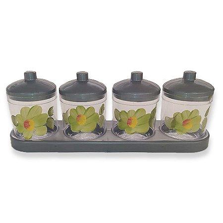 Porta Condimentos com 4 Potes Cinza Decoração - Amilplast