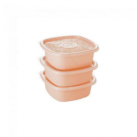 Conjunto de Potes Pop Quadrado 3 Peças - Plasutil