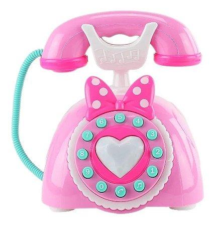 Brinquedo Telefone Musical Infantil C/ Som E Luz Rosa - Bbr Toys
