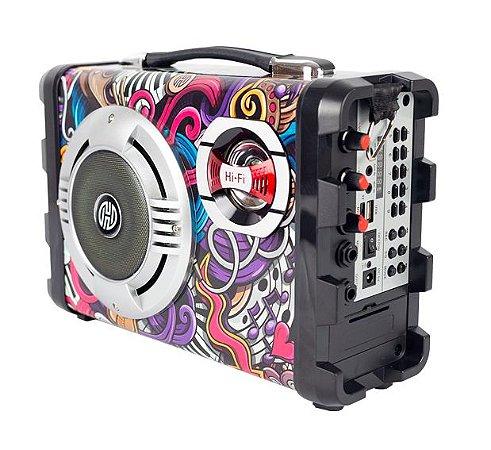Caixa Som Bluetooth USB/SD/MIC/AUX/Rádio FM Hoopson RB-004-C