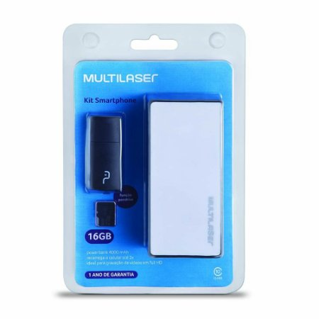 Kit Power Bank 4000 mAh Pendrive Cartão de Memória Micro SD Classe 10 16GB Multilaser MC220