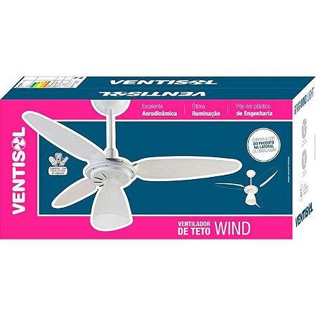 Ventilador de Teto 3 Pás Ventisol Wind Pêra com Dimmer 3 Velocidades Branco 127V