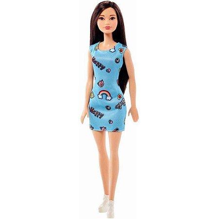 Boneca Barbie Morena Vestido Fashion Azul  Mattel - FJF16