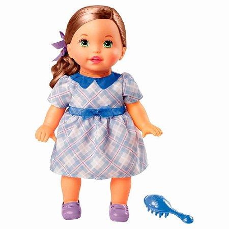 Boneca Little Mommy - Doce Bebê - Morena - Vestido Azul com Laço - Mattel