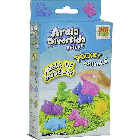 Massa Areia Divertida Brilho Pocket Animais - Dm Toys