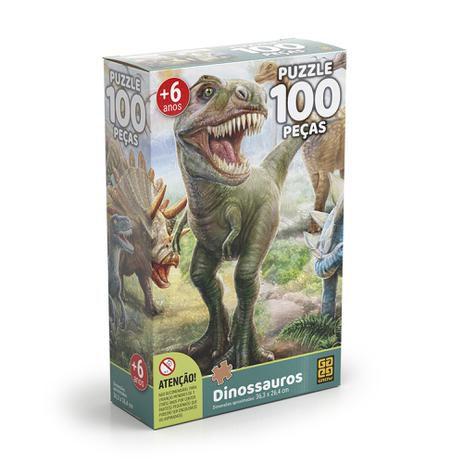 Quebra-cabeça 100 Peças Dinossauros Puzzle - Grow