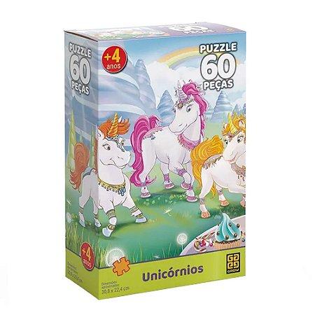 Quebra Cabeça Unicornios 60 Peças Grow