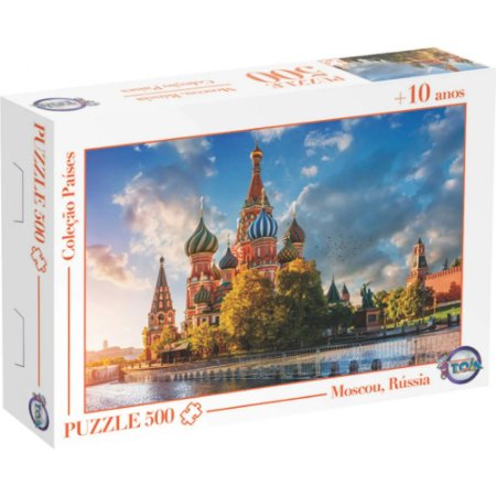 Quebra Cabeça Puzzle 500 Peças Catedral de São Basilío Moscou,Rússia -Toia