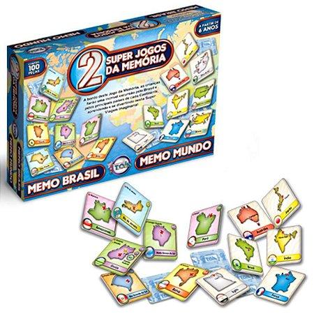 Jogo da memória memo brasil e memo mundo 100 pçs - toia