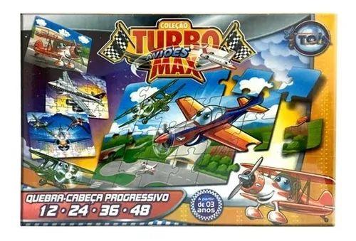 Quebra-Cabeça Progressivo 12,24,36 E 48 Peças Turbo Aviões