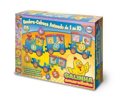 Quebra-Cabeça Animado do 01 ao 10 da Galinha Amarelinha - Brinquedos toia