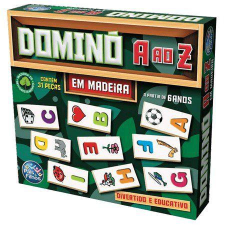 Domino  A AO Z Em Madeira  31 PCS