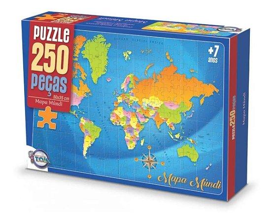 Puzzle Mapa Mundi 250 Peças / Idade + 7 anos. - Brinquedos Toia