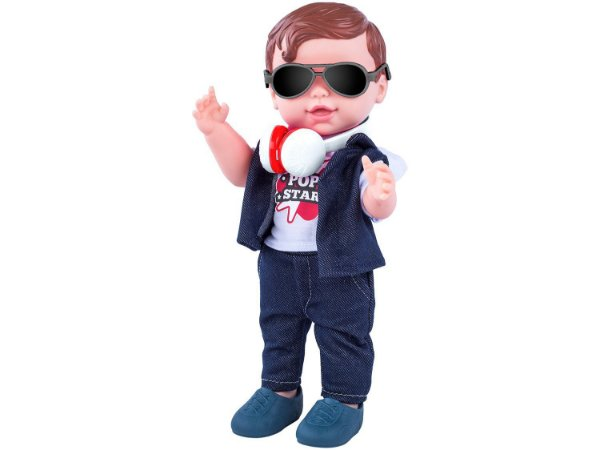 Boneca Babys Collection Pop Star Menina - com Acessórios Super Toys