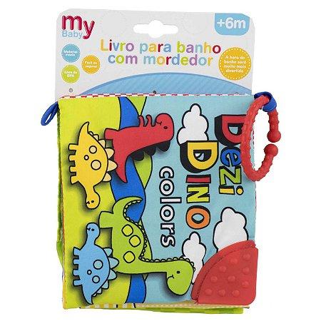 Livro de Banho Dinossauro Verde c/ Mordedor - Bbr Toys