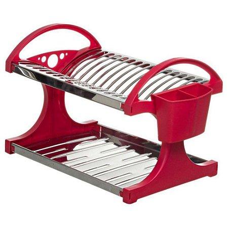 Escorredor Para 16 Pratos Em Aço Inox Com Porta Talheres Vermelho Suprema - Brinox.