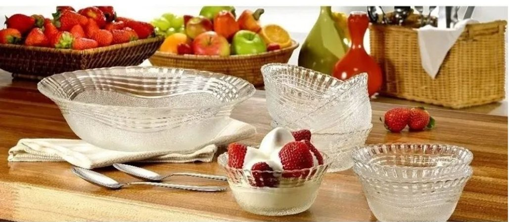 Conjunto 7 Peças Tigelas Sobremesa Crystal Transparente  - Wheaton