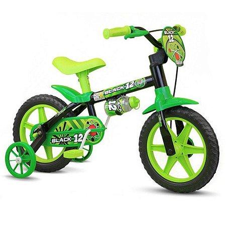Bicicleta Infantil Aro 12 Nathor Black Preta e Verde