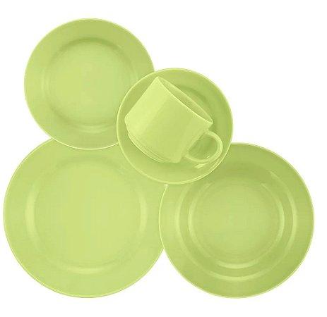 Aparelho de Jantar e Chá 20 Peças Cerâmica Donna Verde - Biona