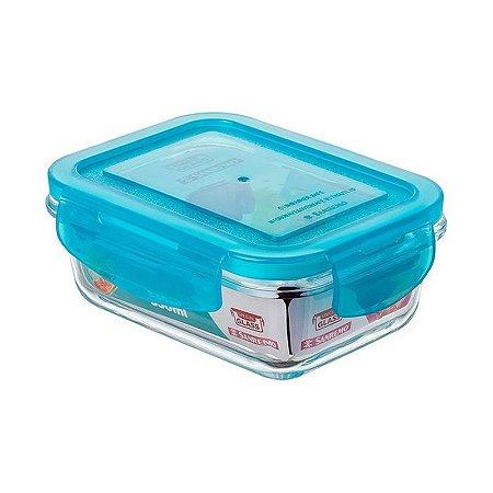 Pote Vidro Retângular Hermetico 330 ml - Sanremo Azul