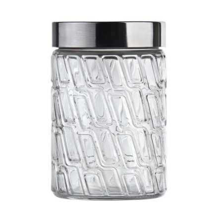 Pote de Vidro Mosaico com Tampa de Inox 1 Litro Euro Home