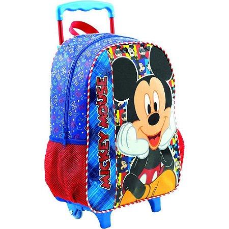 Mochila Escolar com Rodinha Mickey Mouse Azul - Xeryus
