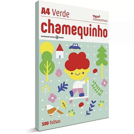 Papel sulfite A4 Verde - 210x297 - com 100 folhas - Chamequinho