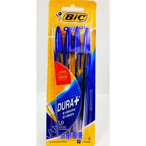 Kit 4 Canetas Cristal Azul Bic