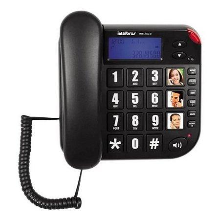 Telefone Com Fio Tok Facil Id Preto Intelbras