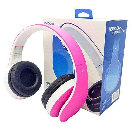 Fone Ouvido Headphone Bluetooth Sem Fio Dobrável Estéreo Fm Micro Sd - Rosa e Branco