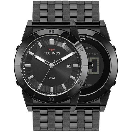 Relógio Technos Masculino 2x1 360° Curvas Preto – 1S13CR/4P