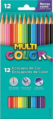 Lapis De Cor Sextavado Multicolor Super Eco