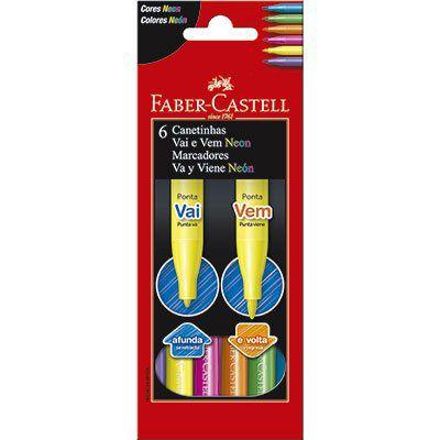 Caneta hidrográfica 06 cores vai e vem  Faber Castell