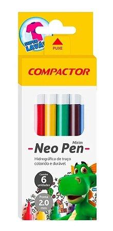 Caneta Hidrográfica 6 Cores Neo Pen Mirim Compactor