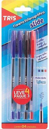 Caneta Esferografica Tris Slide 1.0Mm 2Azul+1Vermelha+1Preta - Blister Com 4, Multicor