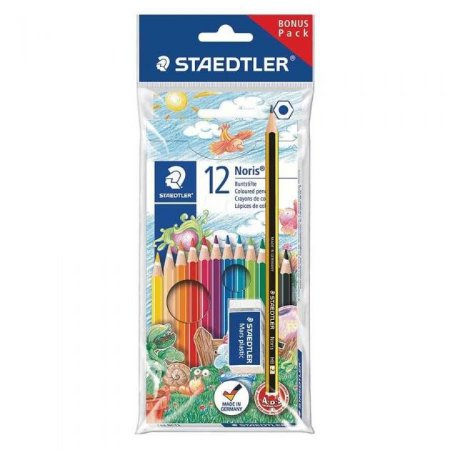 Kit Escolar Lápis de Cor 12 cores + Lápis Preto + Borracha Staedtler