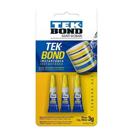 Cola Adesiva Instantânea Gel Tek Bond Blister 3g