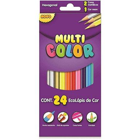 Lapis De Cor Sextavado Multicolor Super Eco 24core