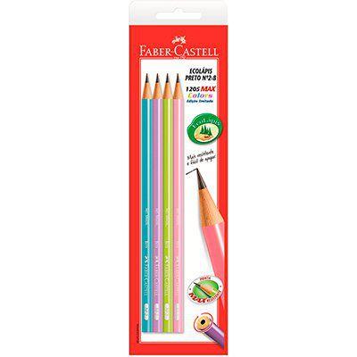Lápis preto n.2 ecolápis max corpo color Faber Castell BT 4 UN