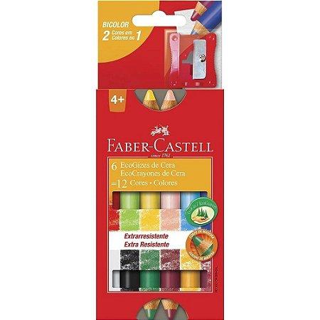 Giz De Cera Ecogiz C/12 Cores Bicolor Faber Castell